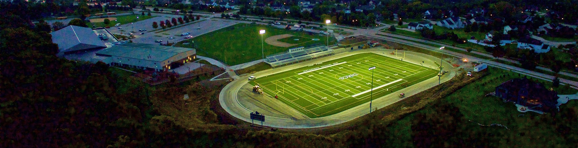 View of Lions Field at Des Moines Christian School at Night